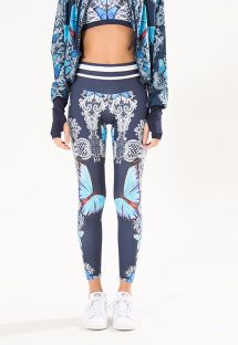 Navy blue fitness leggings with a pattern of butterflies - LEGGING BORBOMAR