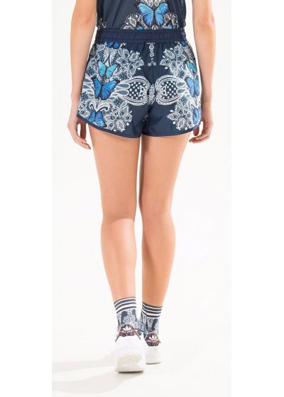 Navy blue sports shorts with a pattern of butterflies - SHORT TRANSPASSE BORBOMAR