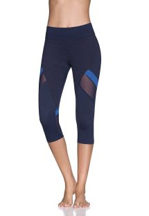 Blue flecked dual-material shortened sports leggings - CURRENT SAPPHIRE EMANA