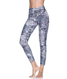 Coral and gray print 7/8-length fitness leggings - DAZEFUL CORAL