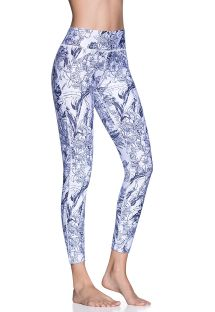 Två-färgade blommiga fitness leggings 7/8 - DAZEFUL FLOWER WHITE