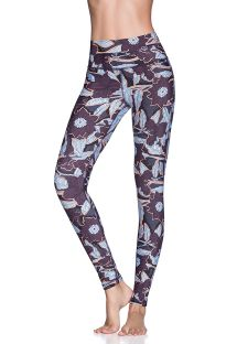 Violett/geblümte Wende-Fitness-Leggings - DOUBLE DREAM NIGHT BLOOM