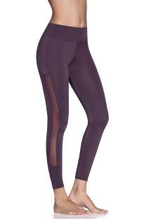 Purple fitness leggings with sheer panels - LANE AMETHYST