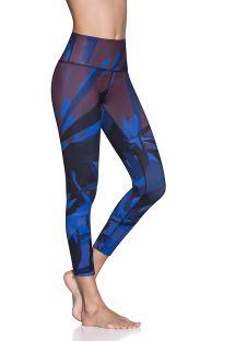 7/8-length blue print reversible sports leggings - NATIVE REVERSE SAPPHIRE
