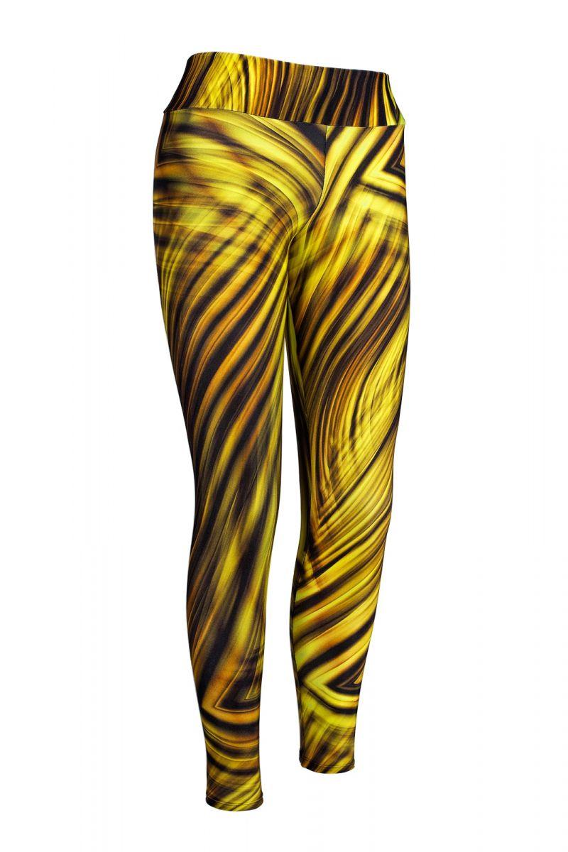 Gula träningstights med geometriskt tryck - LEG BEACH LUXOR