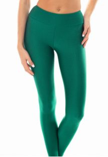 Textured green fabric fitness leggings - LEG DUNA GREEN