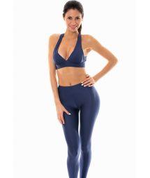 Fitness leggings med marinblått texturerat tyg - LEG DUNA MARINHO