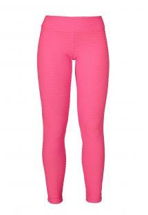 Леггинсы розового цвета из ткани в виде вафельного перепления для фитнеса - LEG KRAFT EUFORIA
