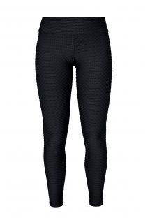 Леггинсы черного цвета текстурированные из ткани в виде вафельного переплетения для фитнеса  - LEG KRAFT PRETO