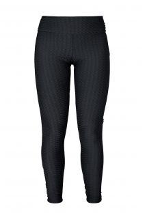 Czarne teksturowane legginsy do treningu z różowym logo - LEG PITON PRETO