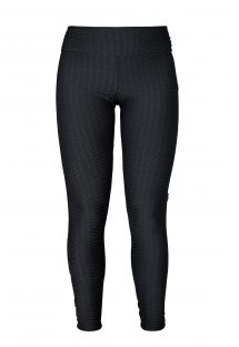 Pembe logolu, dokulu siyah fitness leggings - LEG PITON PRETO