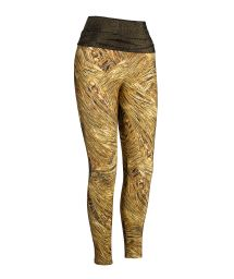 Workout leggings, gold-coloured print, lurex waistband - LEG RELUZENTE