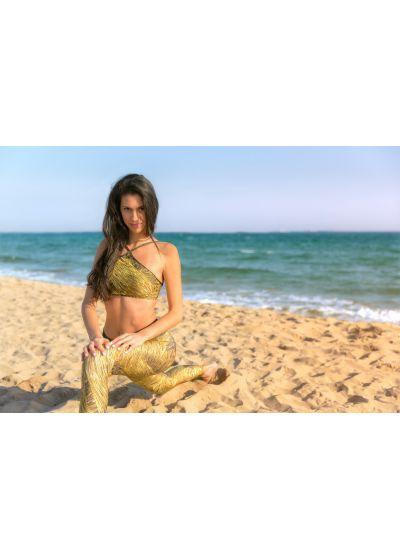 Workout leggings, gold-coloured print, lurex waistband - LEG RELUZENTE