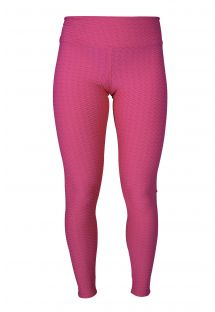 Pink textured leggings with yellow logo, ideal for workout or play - LEG TWIST AMARANTO