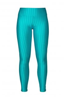 Workout leggings in a textured turquoise blue wet look fabric - LEG ZAP MARATONA