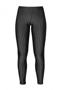 Sorte leggings i tekstureret materiale og med logo, til fitness eller afslapning - LEG ZAP PRETO