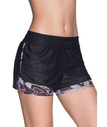 Black print dual-material fitness shorts - UPHILL BLACK