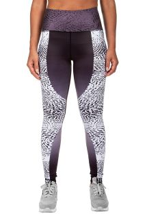 Black/printed mixed athletic leggings - DUNE LEGGINGS BLACK