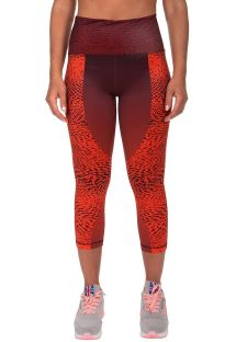Orange-burgundy mixed athletic capris - DUNE LEGGINGS CROPS ORANGE