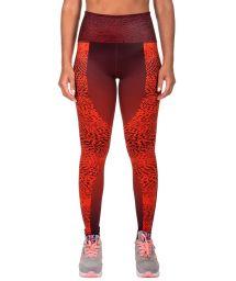 Orange-burgundy mixed media sport leggings - DUNE LEGGINGS ORANGE