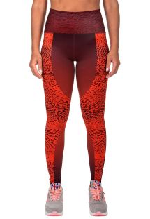 Orange-burgundy mixed media sport leggings - DUNE LEGGINGS ORANGE