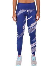 Blue/white geometric print athletic leggings - RAPID LEGGINGS NAVY