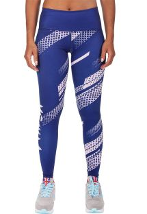 Blue/white geometric print athletic leggings - RAPID LEGGINGS NAVY