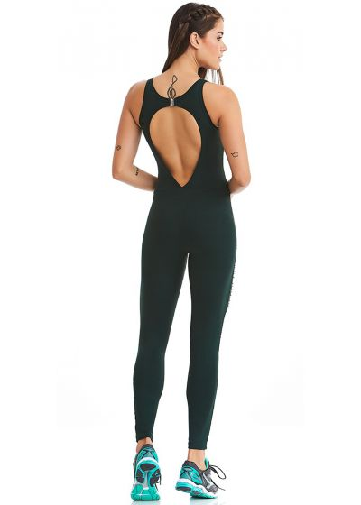 Dark green sports suit with strappy neckline - LASER PARADISE