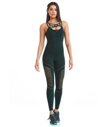 Dark green sports suit with strappy neckline - LASER PARADISE