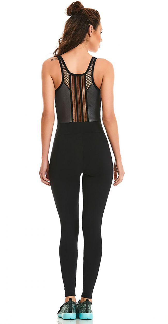 Black & silver fitness jumpsuit - NZ ACTION