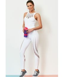 White fitness suit with cutouts - NZ LASER