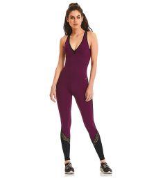 Plum & black fitness jumpsuit - ROCK CURVES