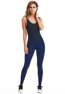 Backless blue and striped fitness suit - ROCK METAMORPHOSE