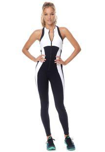Traje de fitness con cremallera negro / blanco bicolor - MACACAO WOODS
