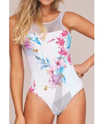 Sporty white body with floral print and openwork - BODY EMANA LIGHT