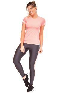 Zestaw fitness: różowy T-shirt i szaro-różowe długie legginsy - ATHANTA RECORTES