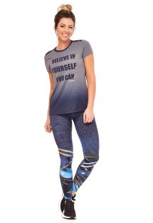 Colorful fitness set: T-shirt and long leggings - BELIEVE IN YORSELF