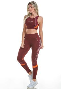 Dark red crop top and leggings - EMANA BLEND DNA