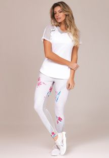 Fitness set: white T-shirt and floral long leggings with openwork - FLOR DE SAL