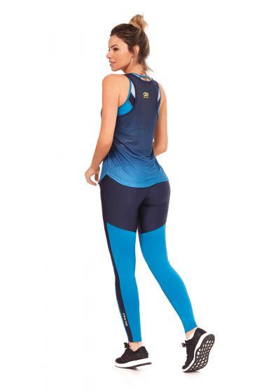 Black & blue fitness set: tank top and long leggings - GRAFIT DEGRADE