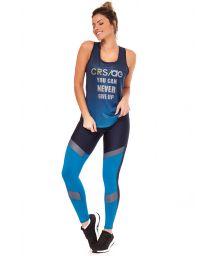 Fitnesskläder i svart och blått: linne och långa leggings - GRAFIT DEGRADE
