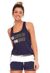 Navy blue & white fitness set: tank top and sporty shorts - INSPIRACOES