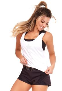 Back & white fitness set: tank top and sporty shorts - LEGERISSIMO