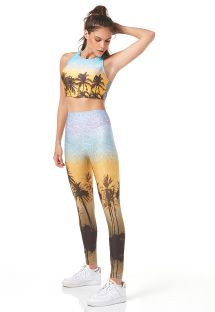 Colourful tropical crop top and leggings set - LEQUE DE FIJI