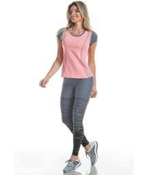 Pink fitness set: t-shirt and gray leggings - MATRIX