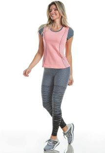 Pink fitness set: t-shirt and gray leggings - MATRIX