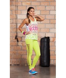 Workout top with plunging back, openwork leggings - MORNING SUN TRESSE