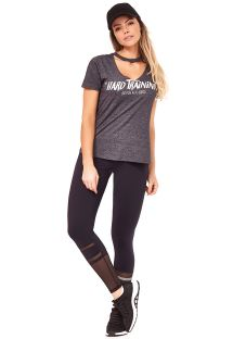 Grey T-shirt and long black leggings with openwork - SENSATION HARD TRAINING