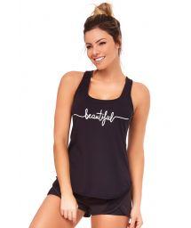 Black fitness set: tank top and sporty shorts - SILK INSPIRACIONAIS