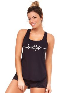 Black fitness set: tank top and sporty shorts - SILK INSPIRACIONAIS